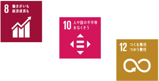 SDGsから3つの開発目標。8 働きがいも経済成長も、10 人や国の不平等をなくそう、12 つくる責任つかう責任
